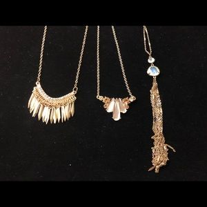 Lot of three gold necklaces